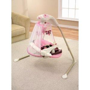 fisher price butterfly pink mocha mobile baby papasan deluxe cradle swing ebay. Black Bedroom Furniture Sets. Home Design Ideas