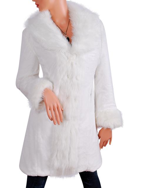 ELEGANT WHITE FAUX FUR LONG COAT / JACKET #218 XS   S