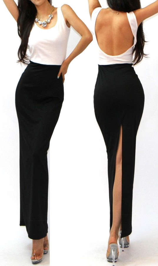 high slit black skirt minimalist black white low open back high sexy slit skirt 6796