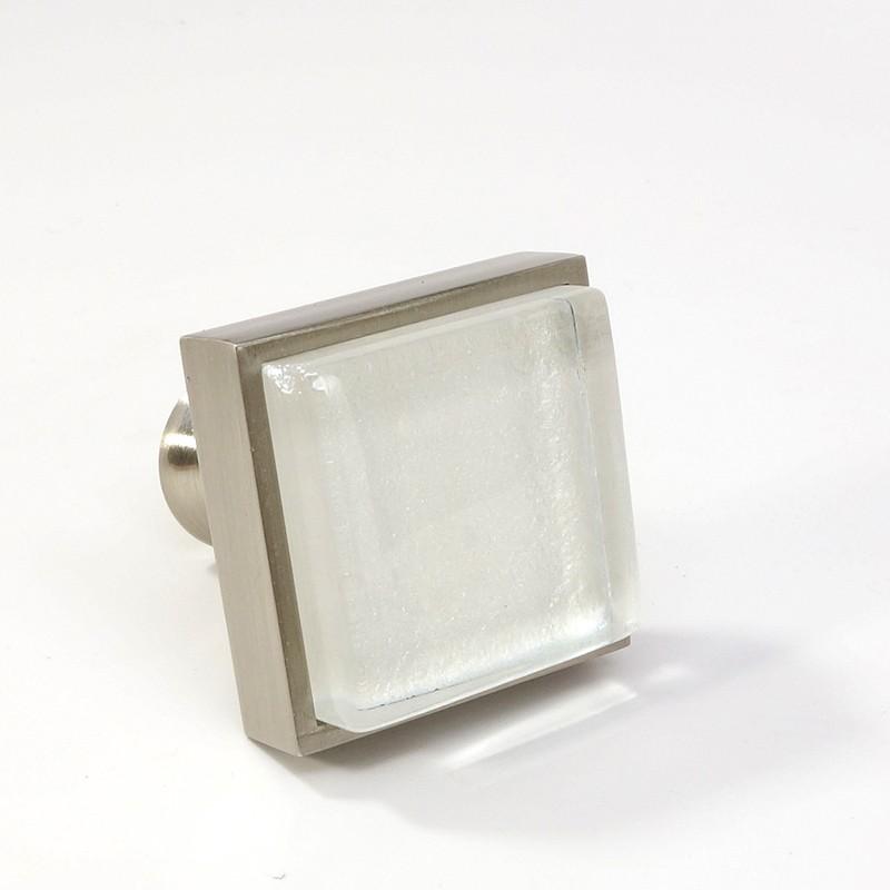 Crystal Gl Brushed Nickel Square Modern Cabinet