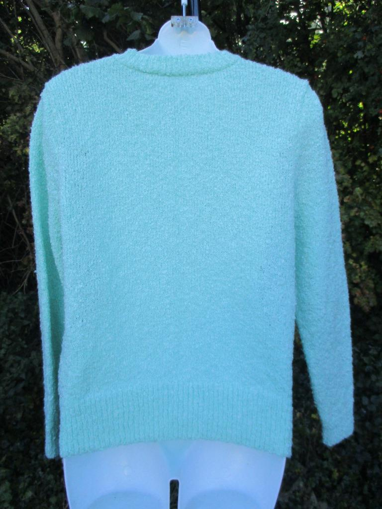 995a79d7c Details about M - Vintage 80 s Womens Mint Green Knitted Cardigan Retro  Granny Jumper - C799
