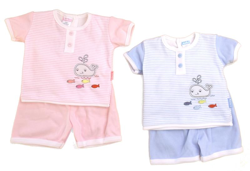 2Piece Baby boys girls embroidered appliqued splish splash design set 3-9 months