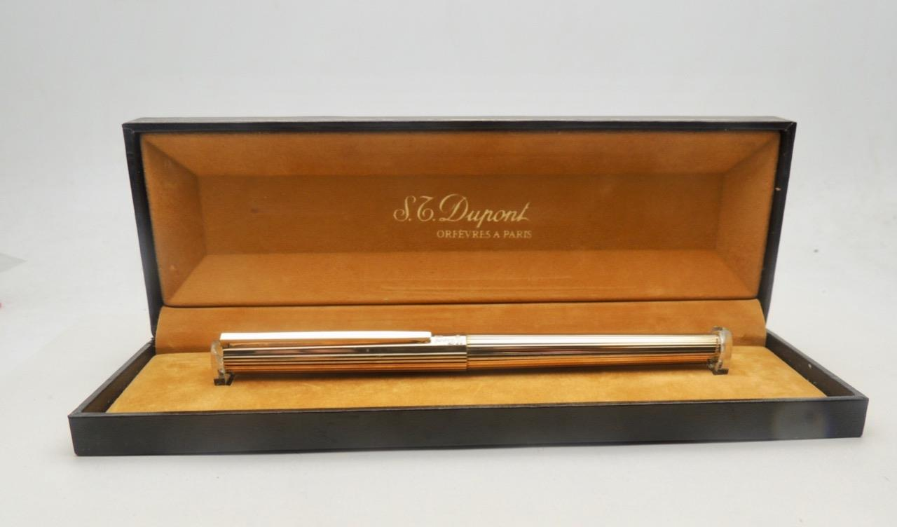 S-T-DUPONT-Classique-Gold-on-925-Silver-Godron-Vermeil-Fountain-Pen-Boxed-TL15