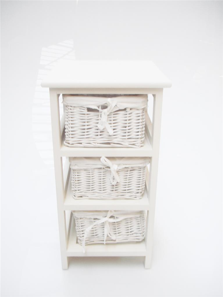 White narrow bedside cabinet 3 chest of draws drawer - Narrow storage cabinet for bathroom ...