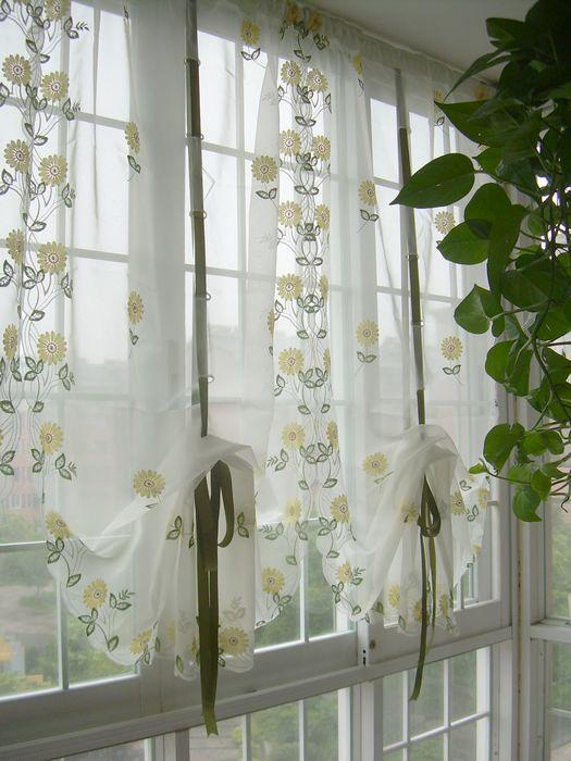 yellow kitchen curtains embroidered yellow sunflowers balloon shade sheer voile 28720