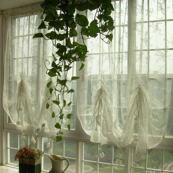 French Country Kitchen Curtains: French Country Embroidered Balloon Shade Sheer Voile Cafe