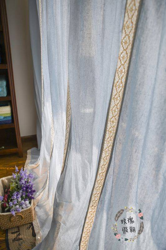 French Country Blue Cotton Linen Crochet Lace Curtain