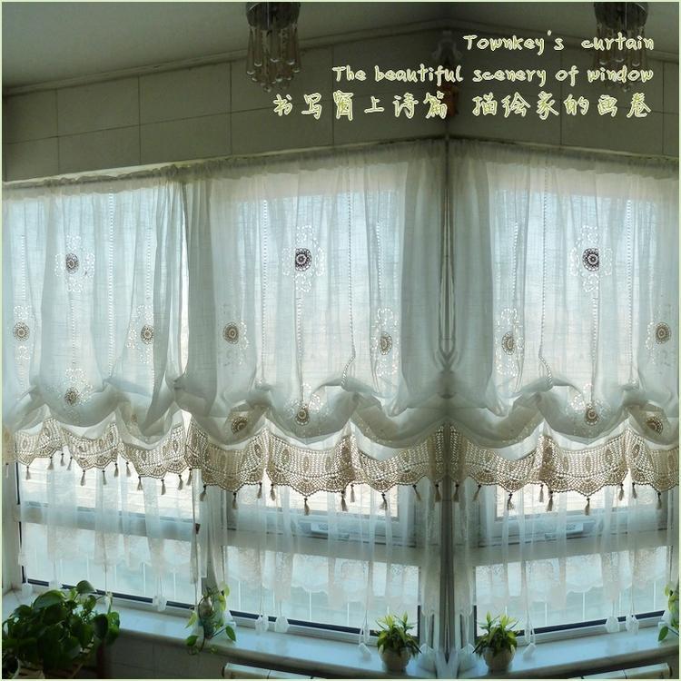 Adjustable Balloon Shade Crochet Hook Sheer Curtain Scalloped Window Curtain Ebay