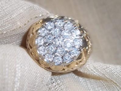 Mens 14k yellow gold diamond cluster ring sz 10.5 .60cttw