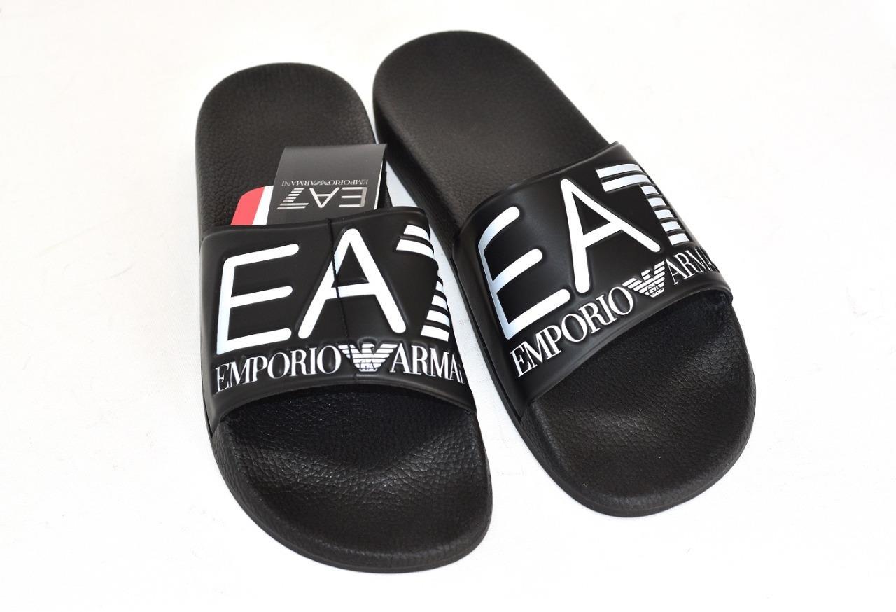 929de8e49 Détails sur EMPORIO ARMANI EA7 homme Sea World Slides Piscine Plage  Chaussons Sandales Noir Neuf- afficher le titre d'origine