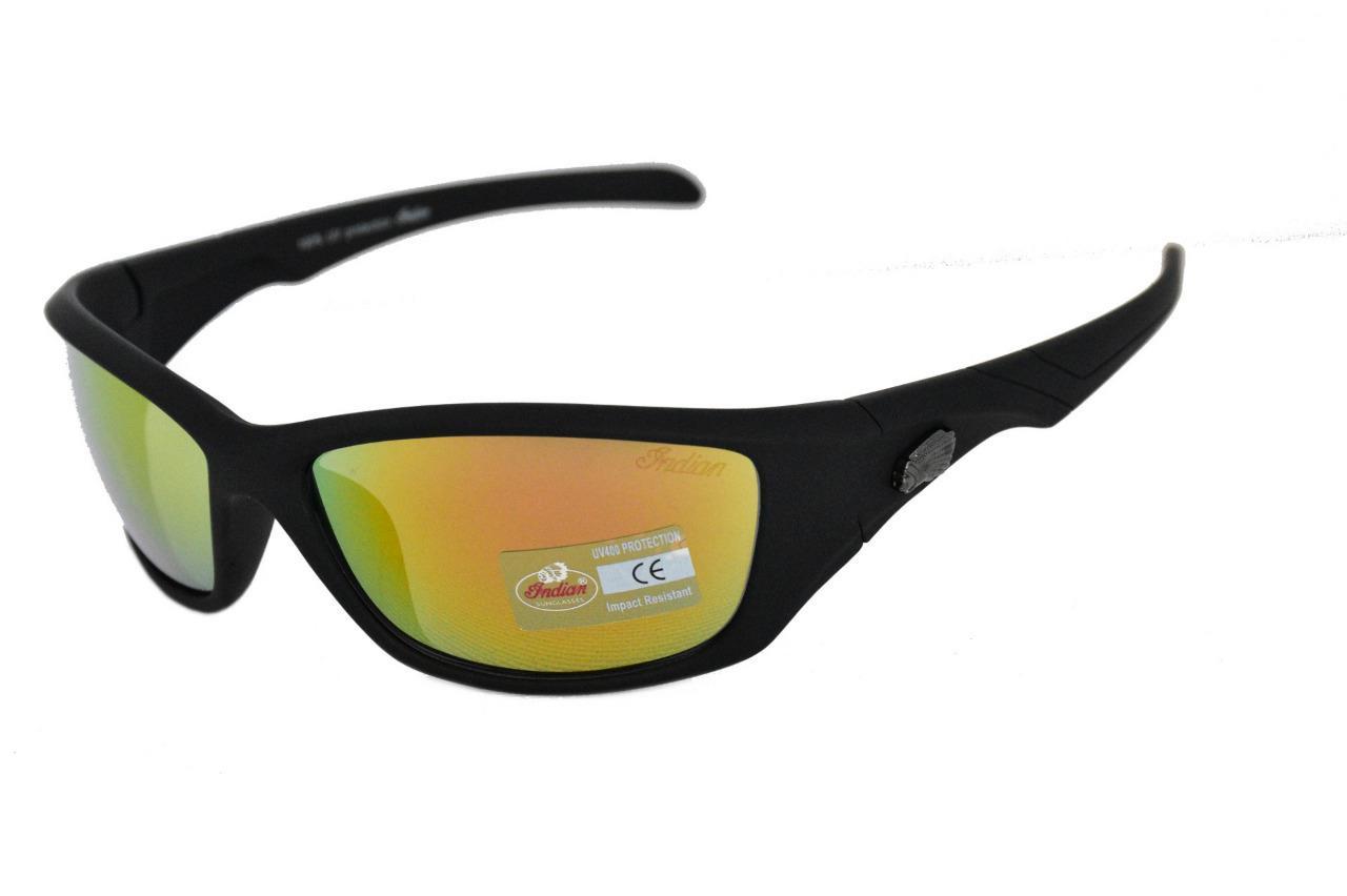 Indian Motorcycle Sunglasses Wrap Plastic Frame Smoke Mirror Lens 100/%UV Protect