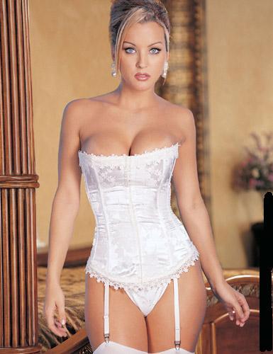 Sexy Corset Bustier G String Garter Lingerie White | eBay