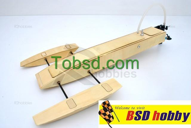 19.5 inch  RC EP Wooden Mini Trident  Kit RC Boat outrigger rigger hydroplane hydro