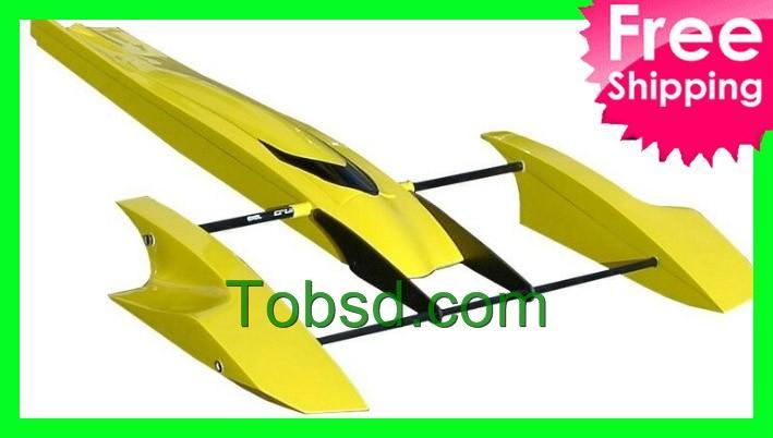 33 inch Yellow Poseidon FibreGlass Outrigger Rc Boat Hydroplane Kit Hydro Rigger