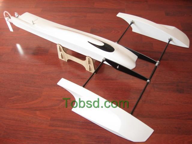 33 inch White Poseidon FibreGlass Outrigger Rc Boat Hydroplane ARTR Hydro Rigger