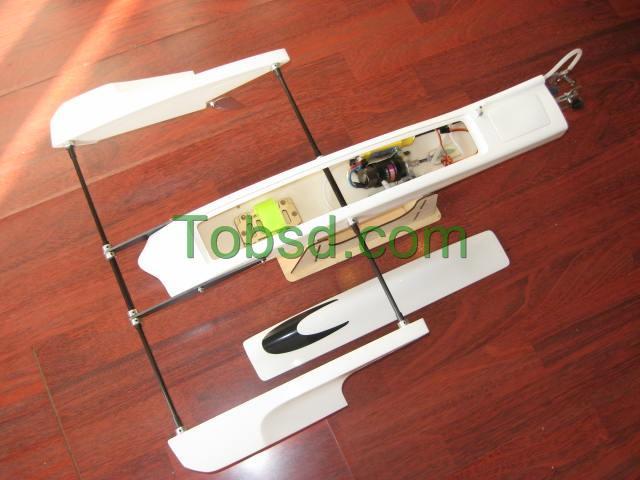 28'' White Poseidon ARTR  FibreGlass Outrigger Hydroplane Hydro Rigger Rc Boat