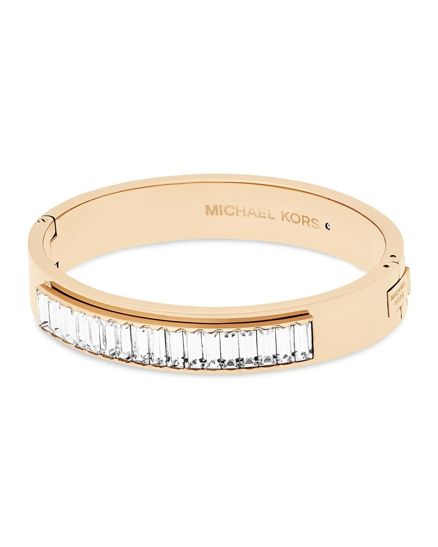 Michael Kors Mkj6230710 Black Friday Baguette Crystals Gold Tone Hinged Bracelet