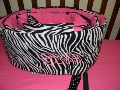 Minky Dot Hot Pink Zebra Crib Bedding 4P Blanket Girl