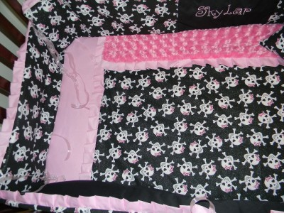 Skulls Minky Dot Amp Pink Amp Black Crib Bedding 7p Blanket