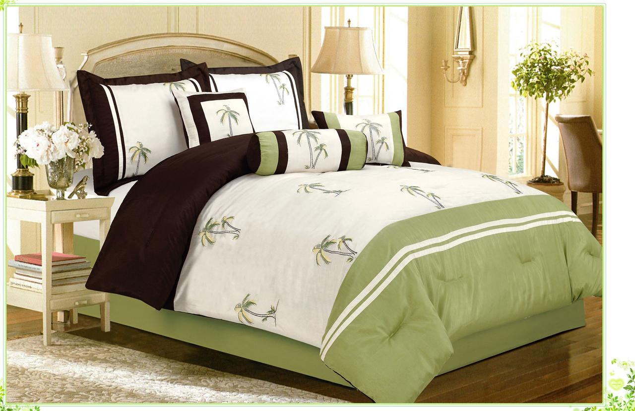 Palm Tree Quilt Sets: 7PC Green Palm Tree Catalina Island Tropical Embroidery