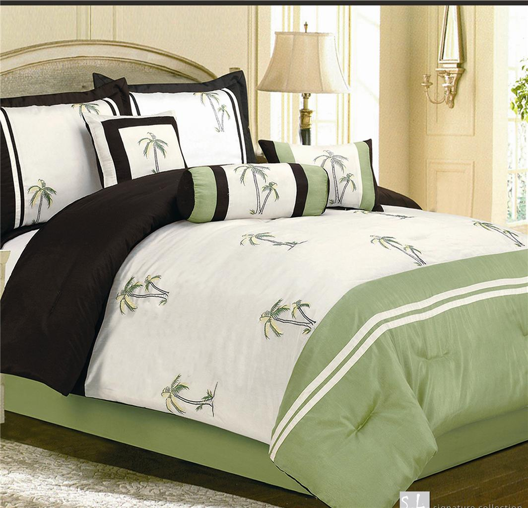 7PC Catalina Green Palm Tree Faux Silk Comforter Bedding ...