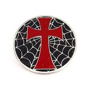 Halloween Gothic Iron Cross Spider Web Motorcycle Biker Enamel Metal Belt Buckle