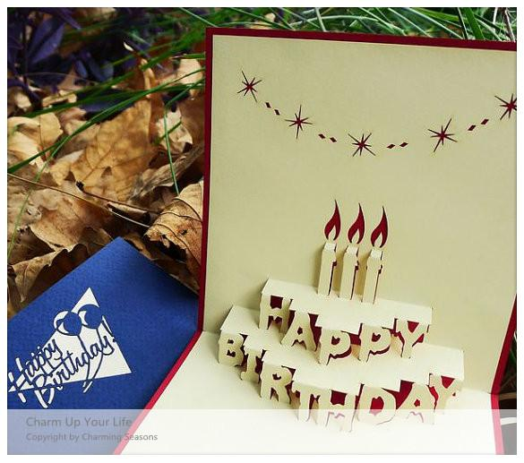 Origami Handcrafted 3D Greeting Card Birthday with Candles ... - photo#12