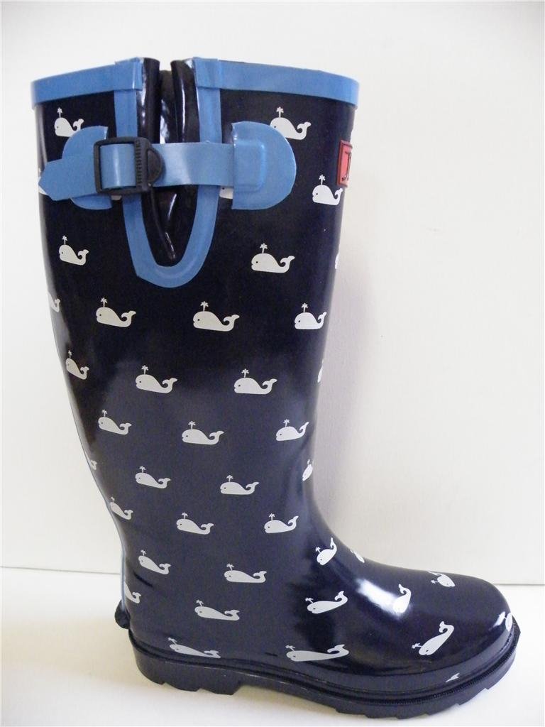 Womens Girls Festival Navy Blue Whales Wellies Boots Wide