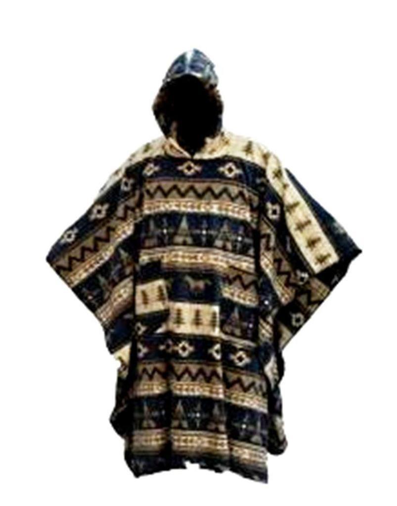 mens womens hooded fleece aztec poncho cape coat festival. Black Bedroom Furniture Sets. Home Design Ideas