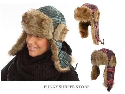 177370c8045e7 WOMENS FAUX FUR TRAPPER HAT TARTAN CHECK LINED WINTER COSSACK ...