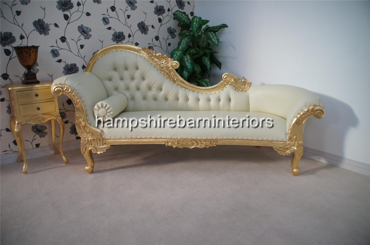 cream leather chaise longue ornate chaise longue large gold cream faux leather lounge 13604 | 630819131 o
