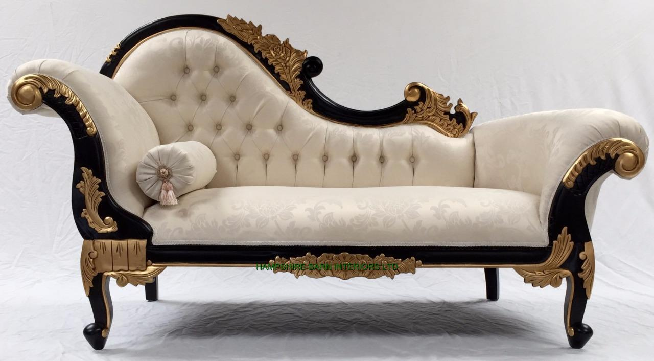 French style ornate chaise longue sofa black gold frame for Sofa 1 plaza chaise longue