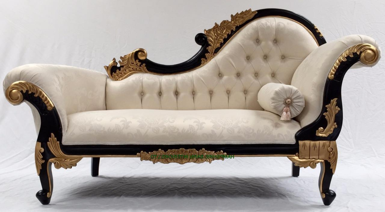 French style ornate chaise longue sofa black gold frame for Chaise longue style sofa