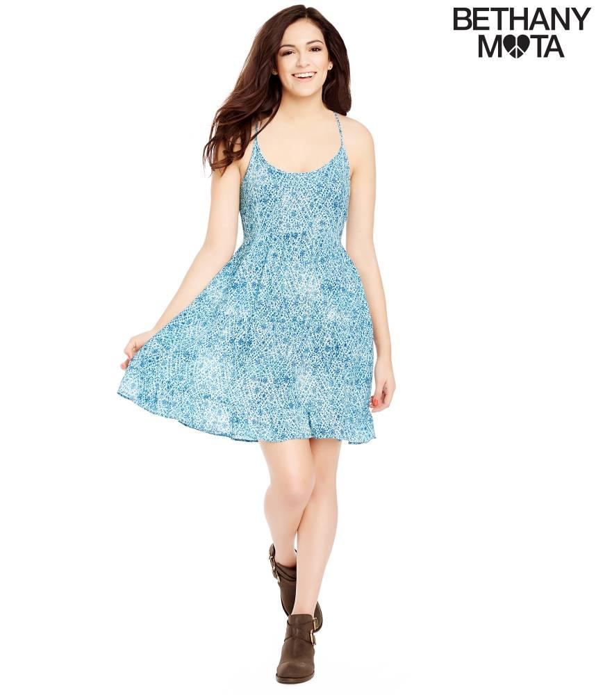Details About Nwt Sz M Or L Aeropostale Bethany Mota Blue Distsy Print Strappy Sun Dress New