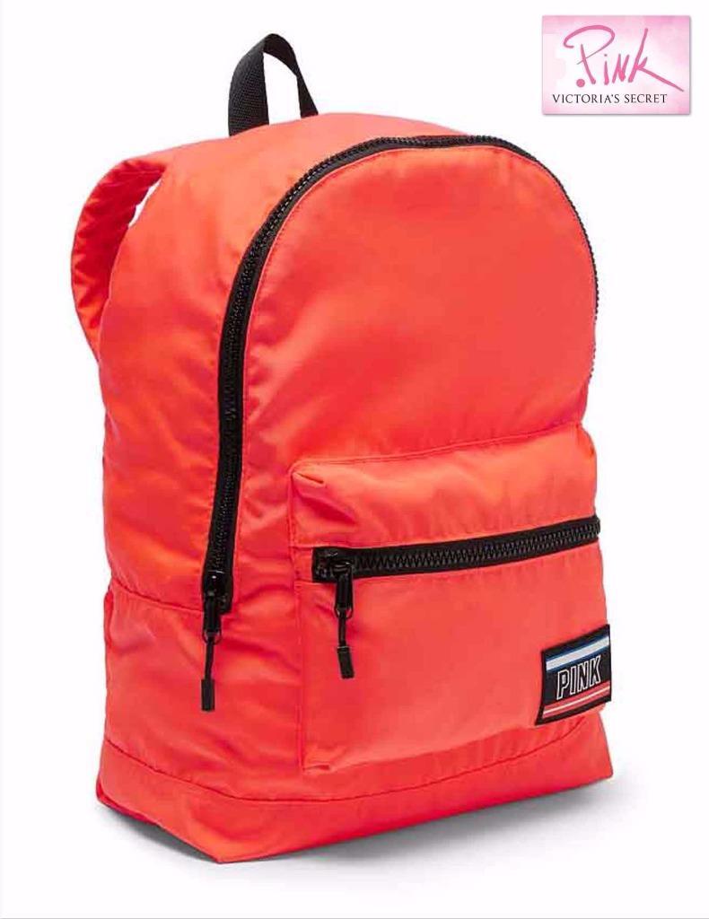 893d3f53fd622 Details about NWT Victoria's Secret PINK Campus Neon Orange Lightweight  Backpack School Bag
