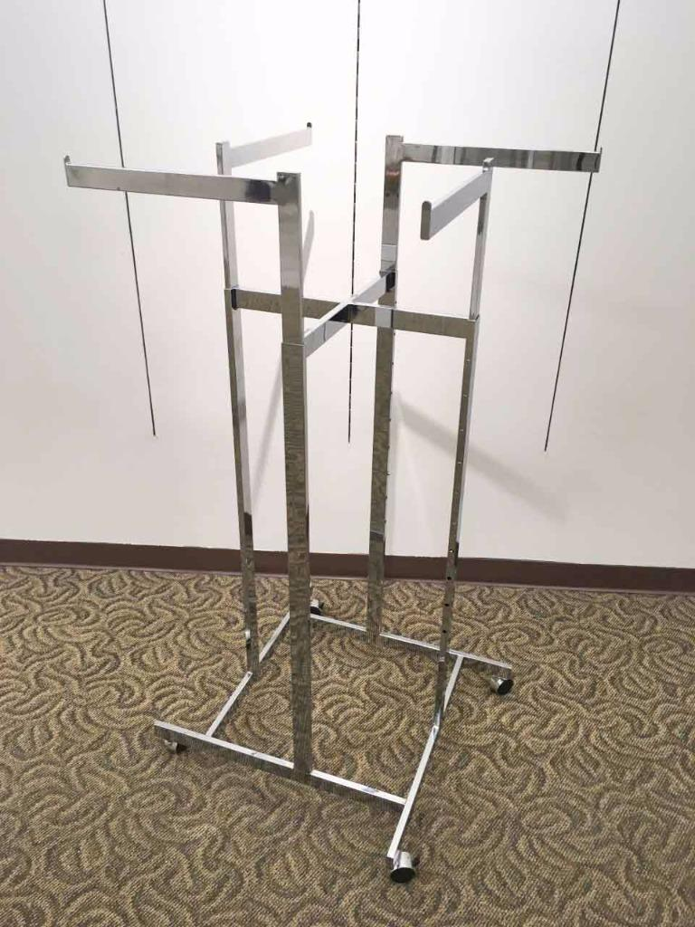 rolling 4 way arms clothing heavy duty garment rack chrome wheels pick up only ebay. Black Bedroom Furniture Sets. Home Design Ideas