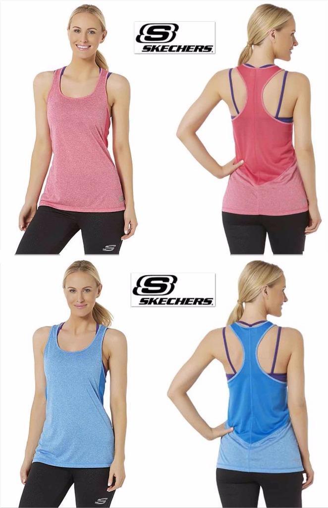 BNWT Skechers Sport Racerback Vest Top Gym Running Workout Grey