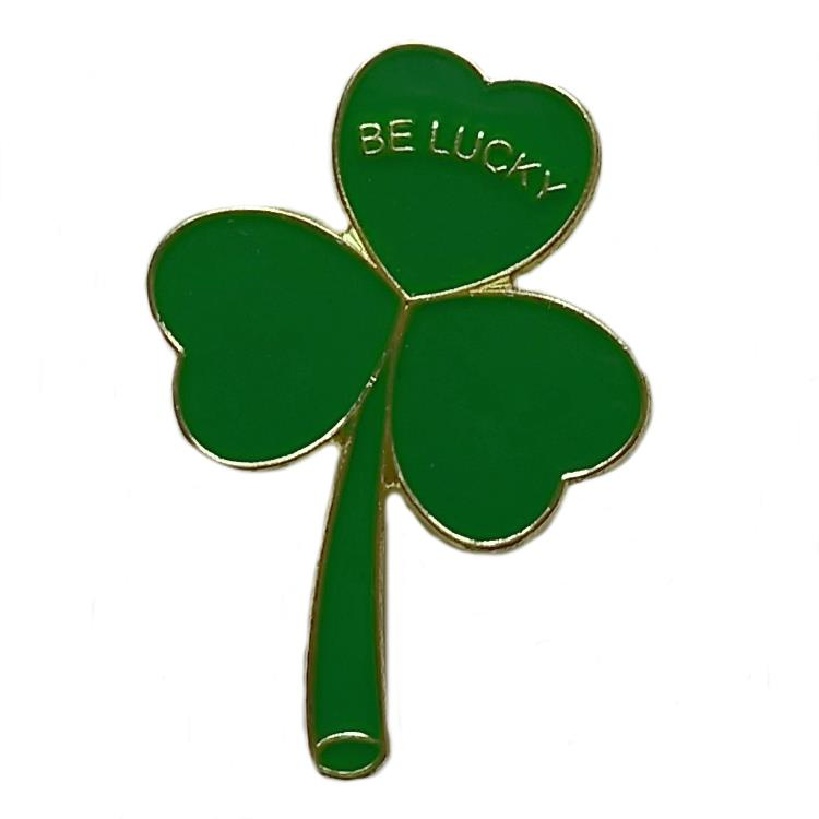 Pack 10 x St Patrick's Day Be Lucky Irish Shamrock Lapel Pin Badges