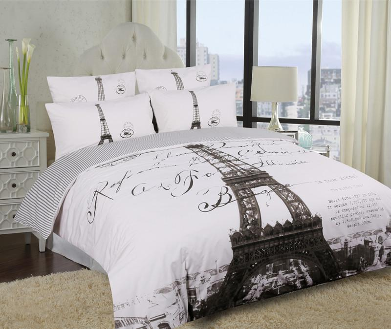Single Double Queen King Eiffel Tower Paris Quilt Duvet