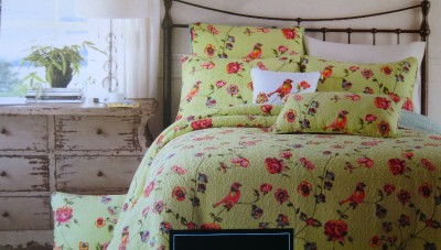 Cynthia Rowley King Quilt Bedding Birds Tropical Flowers