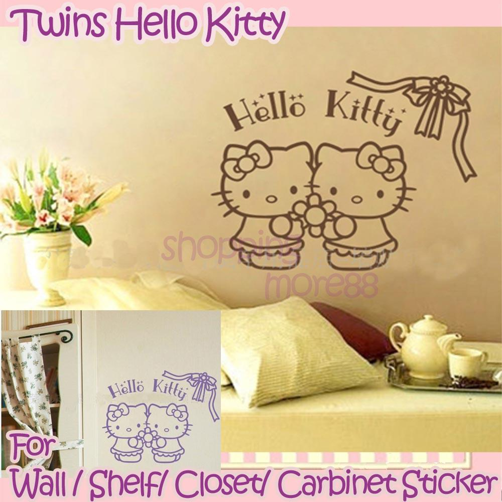 Hello Kitty Home Decor: Twins Hello Kitty Cute Wall Sticker Home Decor-ribbon
