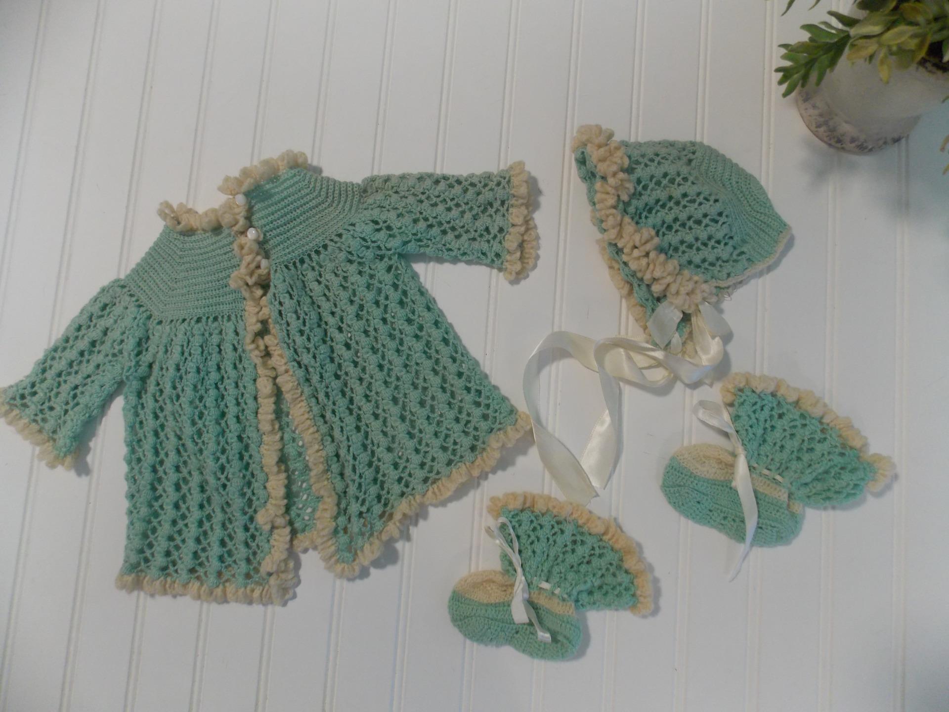Handmade Crochet Infant boy sweater set