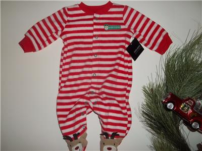 1ed29c7c35a4 NEW Baby Boy Girl NEWBORN Fleece Reindeer MY 1ST CHRISTMAS Sleeper ...