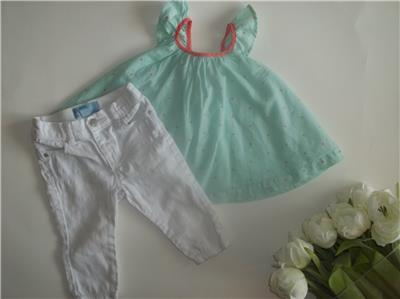 7868f3fab2d Baby Gap Girl 6-12M Spring Summer Top White Pants Clothes Outfit Lot 6 12  Months