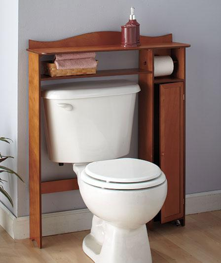 Wooden Bathroom Shelves Storage: BATHROOM WOODEN OVER-THE-TOILET TABLE SHELF STORAGE-WHITE