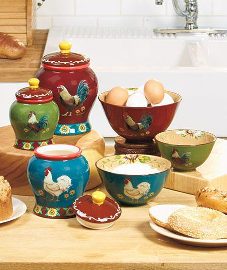 where to buy kitchen canisters earthenware good morning rooster kitchen canister and or serving mixing bowl set ebay 8165