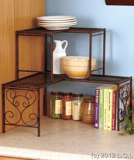 Corner Kitchen Sink Organizers: BRONZE KITCHEN OVER-THE-SINK SHELF, 2-TIER CORNER SHELF