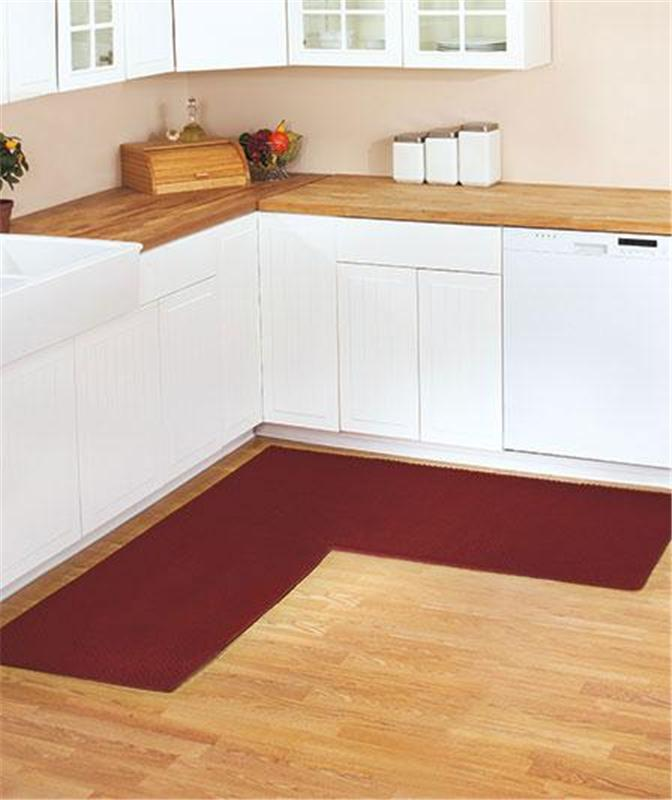 BERBER CORNER RUNNER TEXTURED KITCHEN RUG WITH NON-SKID