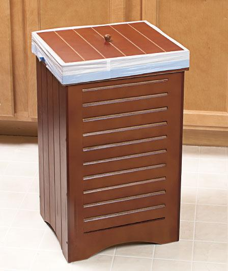 CLASSY WOODEN FURNITURE-STYLE KITCHEN GARBAGE CAN TRASH