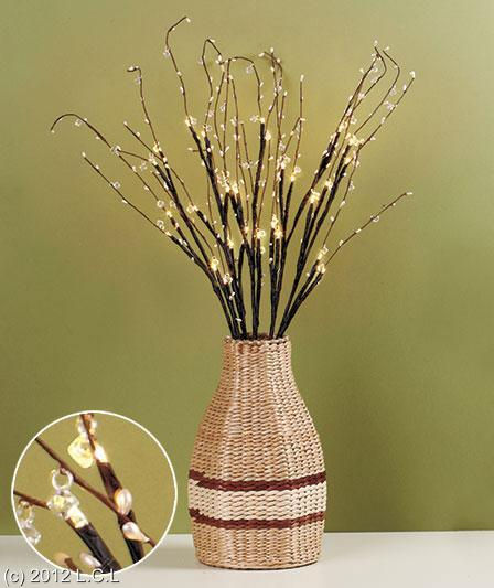 CRYSTAL BEADED LIGHT-UP BRANCHES CENTERPIECE BATTERY